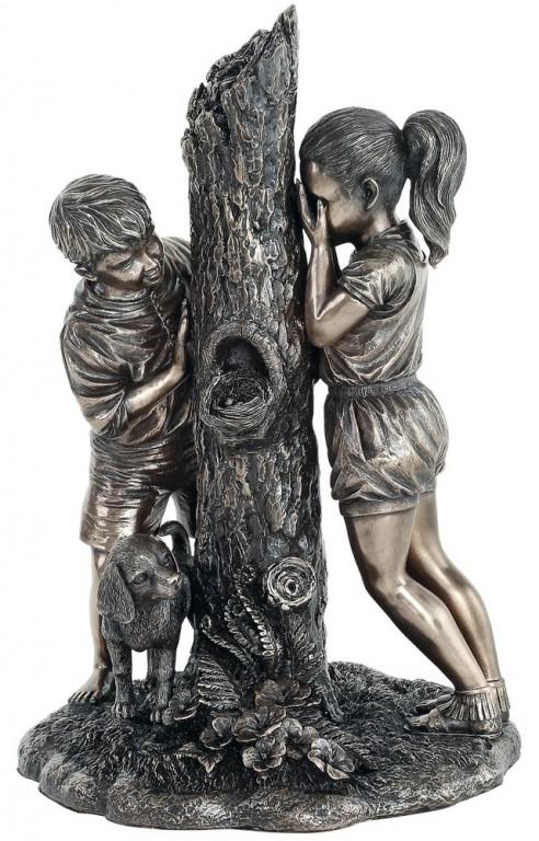Photo of Hide and Seek Boy and Girl Bronze Figurine 24cm