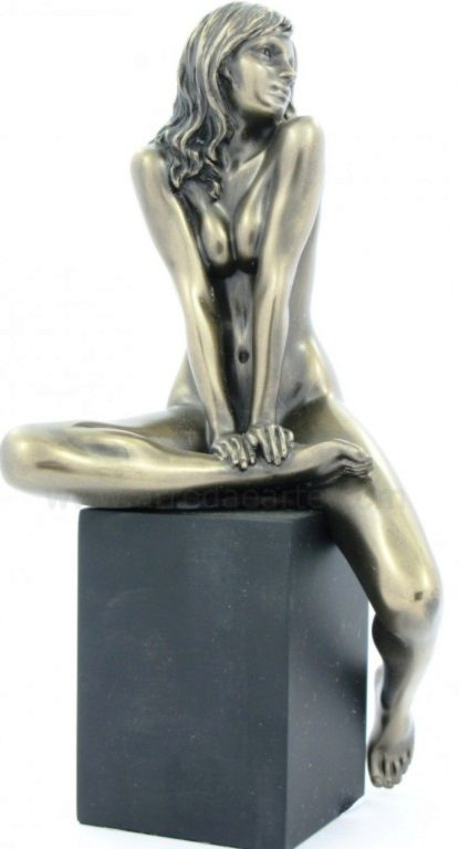 Photo of Nude Girl Sitting on Plinth Leg Up Bronze Figurine