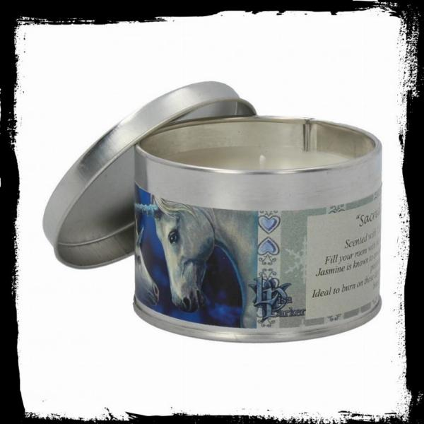 Photo of Sacred Love Tin Scented Candle - Jasmine Tea (Lisa Parker Unicorn Artwork)