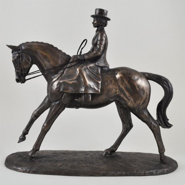 Photo of Side Saddle Cold Cast Bronze Horse Riding Sculpture by Harriet Glen