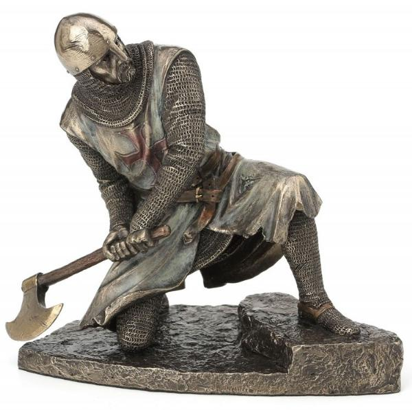 Photo of Templar Knight with Axe Bronze Figurine