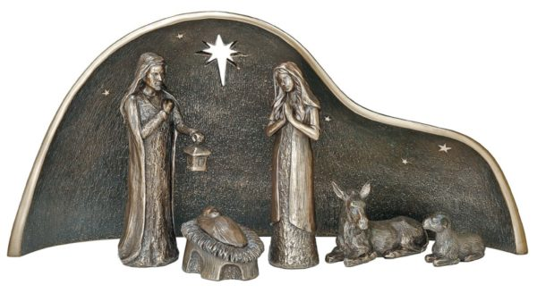 Photo of The Holy Family Crib Nativity Bronze Figurine Large 44cm