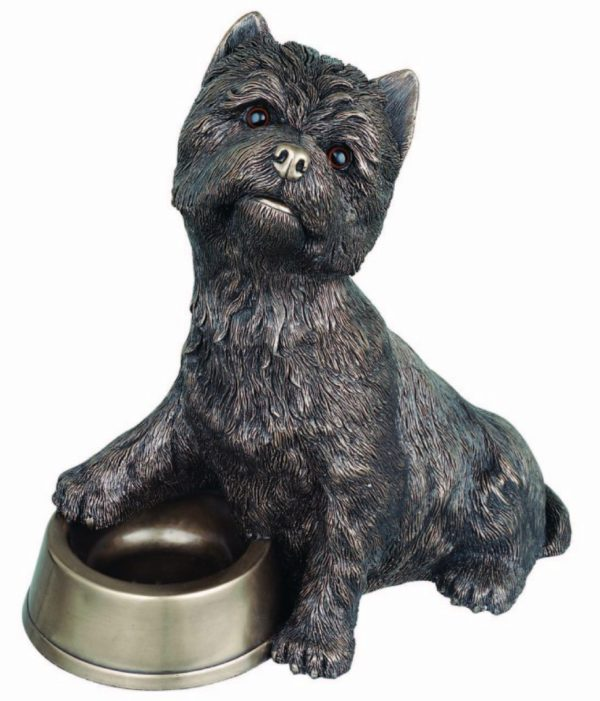 Photo of Westie with Bowl Bronze Large Dog Ornament 33cm