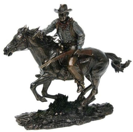 Photo of Cowboy on Horseback Bronze Figurine