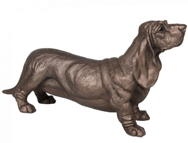 Photo of Dudley Basset Hound Dog Bronze Sculpture Harriet Dunn 31cm