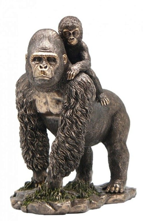 Photo of Gorilla with Baby on Back Bronze Statue