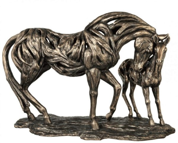 Photo of Guidance Mare and Foal Contemporary Bronze Horse Figurine Large 56cm