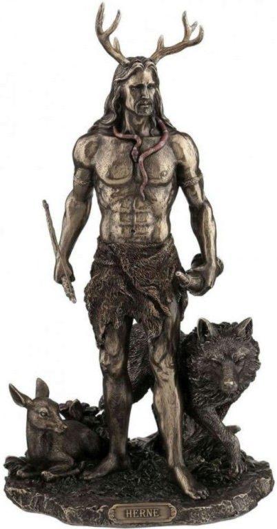 Photo of Herne and Animals Bronze Figurine 30cm