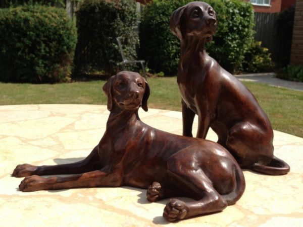 Photo of Pair of Vizslas Bronze Figurines