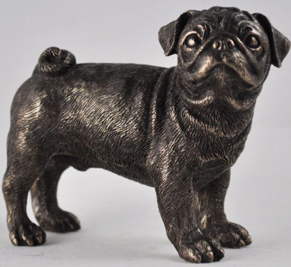Photo of Pug Standing Bronze Dog Sculpture Small