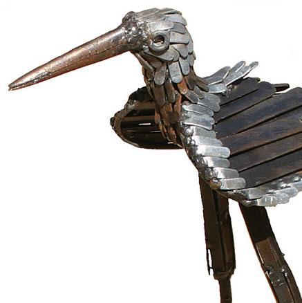 Photo of Stilt Bird Metal Garden Ornament (Upright)