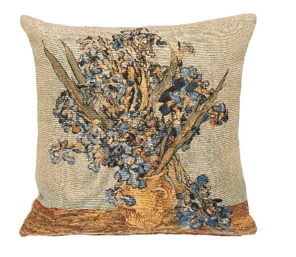 Phot of Van Gogh Vase With Irisses Tapestry Cushion