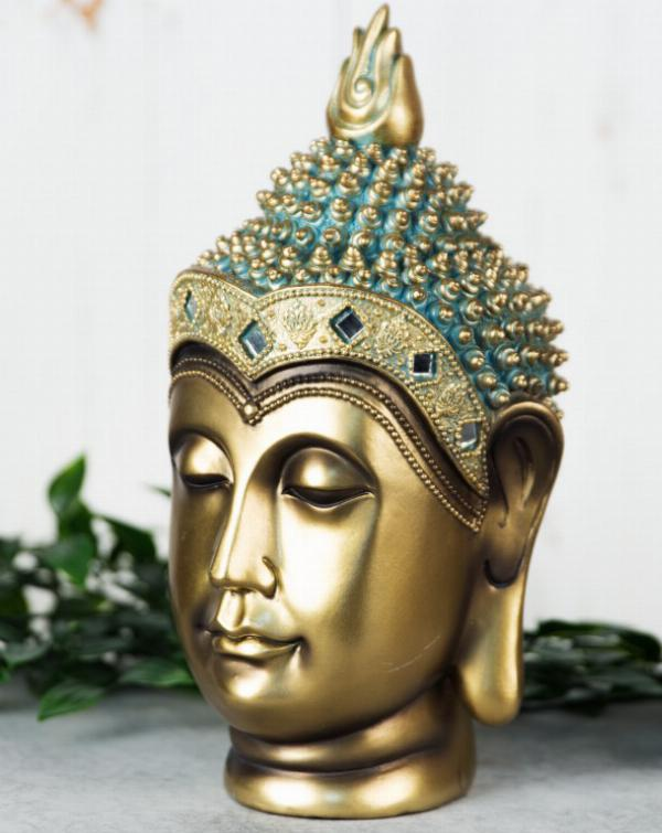 Photo of Buddha Head Figurine 24 cm Verdigris Bronze