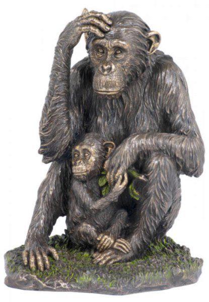 Photo of Chimpanzee and Baby Bronze Statue