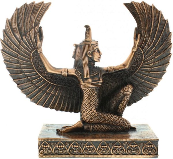 Photo of Egyptian Winged Isis Kneeling Figurine Copper Finish (Juliana)