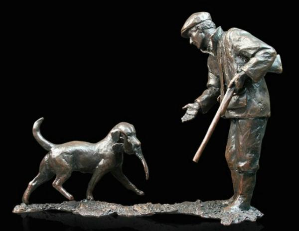 Photo of First Retrieve Man and Dog Bronze Figurine (Limited Edition) Michael Simpson