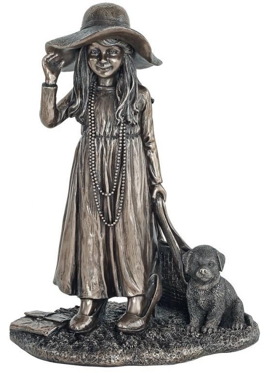 Photo of Lady Dress Up Bronze Girl Figurine 23cm