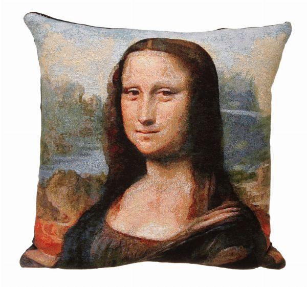 Phot of Mona Lisa By Leonardo Da Vinci Tapestry Cushion