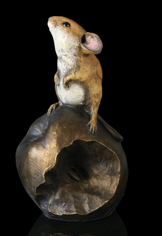 Photo of Mouse on Apple Bronze Figurine Michael Simpson