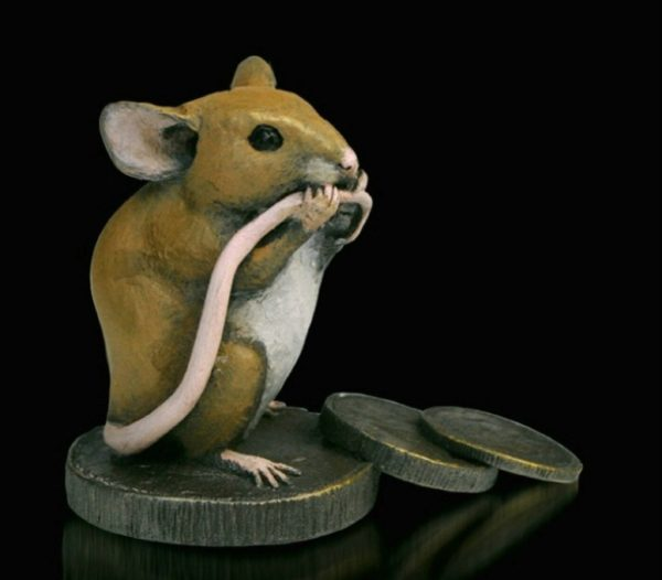 Photo of Mouse with Old Pennies Bronze Figurine Michael Simpson