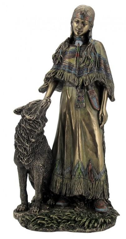 Photo of Native American Woman with Wolf Bronze Figurine 30cm