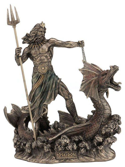 Photo of Poseidon God of the Sea Bronze Figurine 23 cm