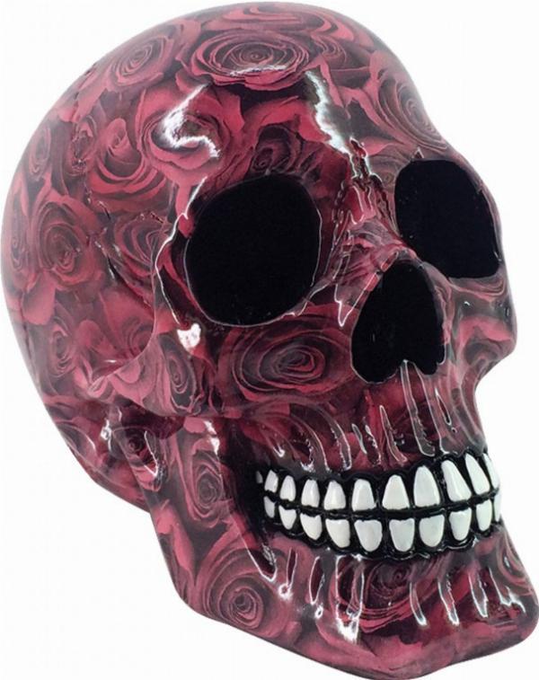 Photo of Red Roses Romance Skull 19cm