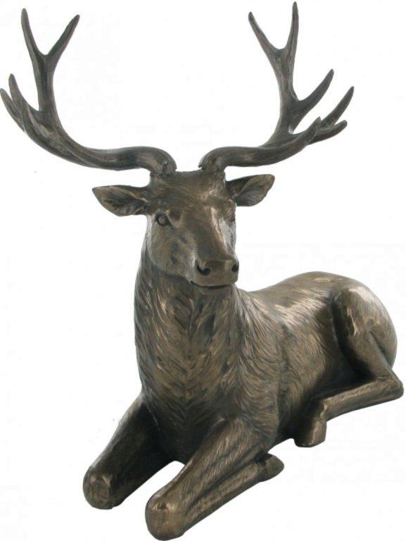 Photo of Sitting Deer Bronze Sculpture Figurine