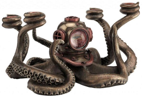 Photo of Steampunk Octopus Candle Holder Bronze Figurine