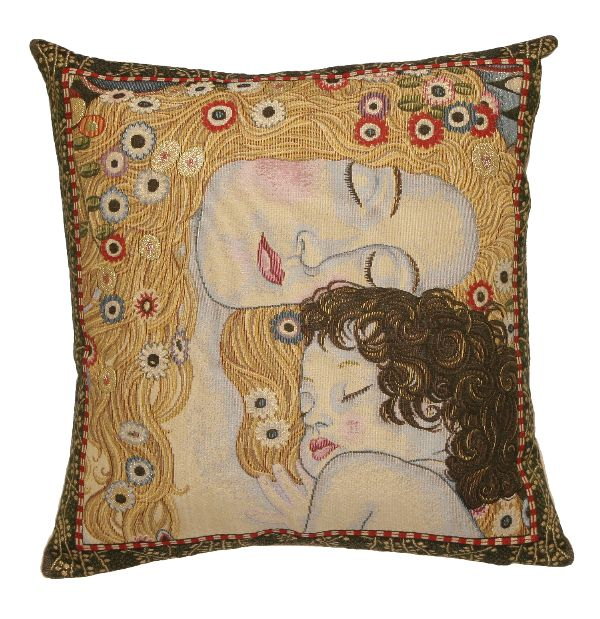 Phot of The 3 Ages By Gustav Klimt Tapestry Cushion