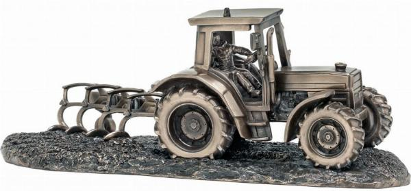 Photo of Tractor and Plough Bronze Ornament 32 cm