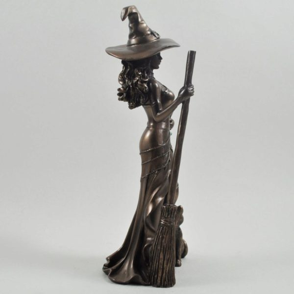 Photo of Bronze Witch with Cat Figurine