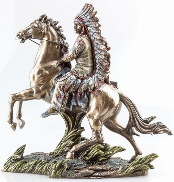 Photo of Buffalo Hunter Native American on Horse Bronze Figurine