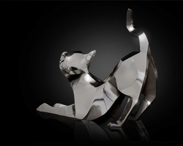 Photo of Cat Stretching Hallmarked Sterling Silver Miniature NOMI Design