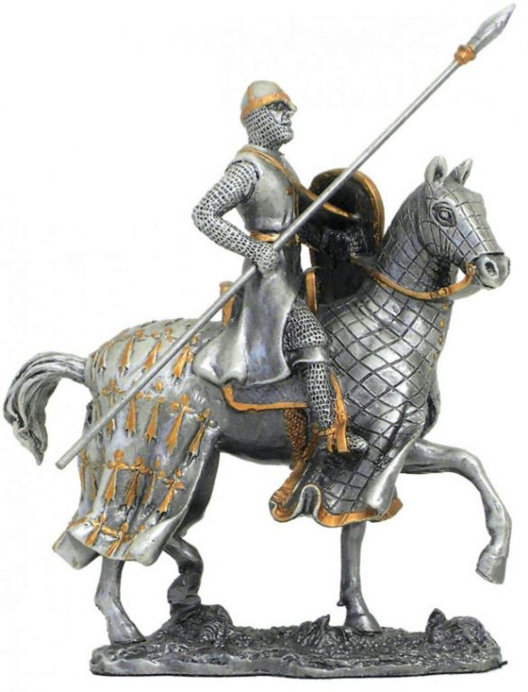 Photo of Crusader on Horse with Spear Pewter Figurine