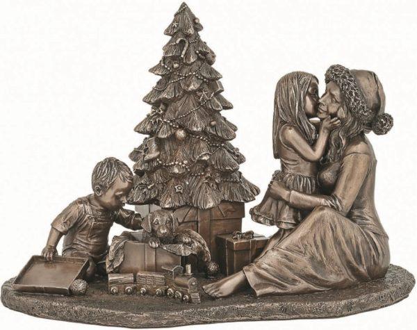 Photo of Happy Christmas Morning Bronze Figurine 25cm