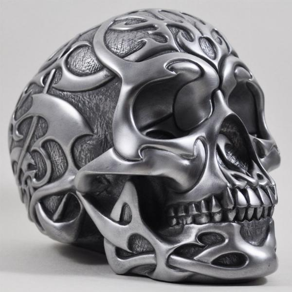 Photo of Heavyweight Tribal Skull Silver Large