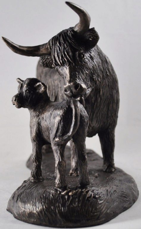 Photo of Highland Cow and Calf Bronze Sculpture (Harriet Glen) 24cm