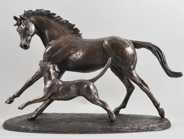 Photo of Horse and Hound Cold Cast Bronze Sculpture by Harriet Glen