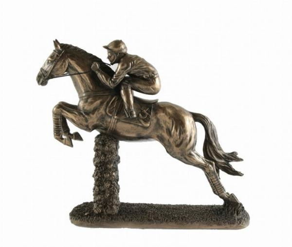 Photo of Jumping Fence Horse and Jockey Bronze Figurine Large