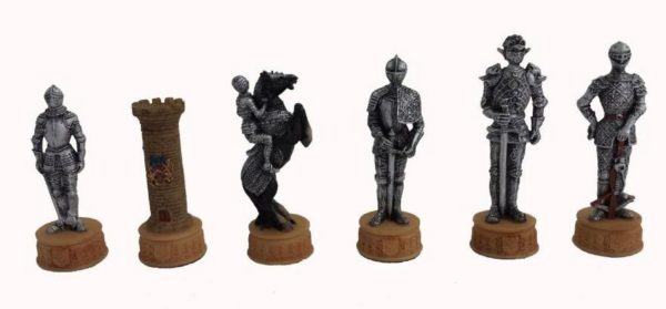 Photo of Knights Chess Set Silver and Bronze Finish