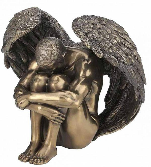 Photo of Male Angel Sorrow Bronze Figurine