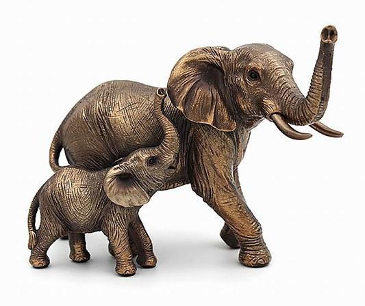 Photo of Mother Elephant and Calf Bronze Figurine Leonardo