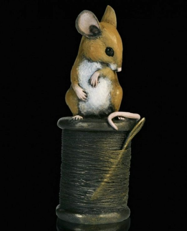 Photo of Mouse on Cotton Reel Bronze Figurine Michael Simpson