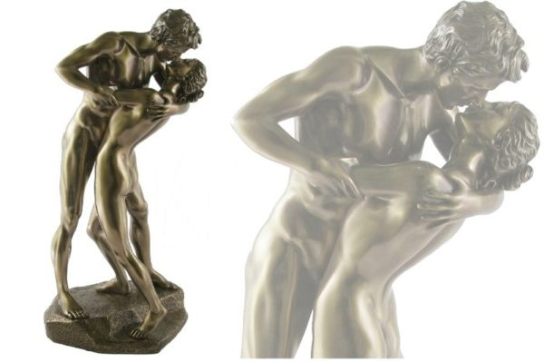 Photo of Naked Couple The Kiss Bronze Nude Figurine