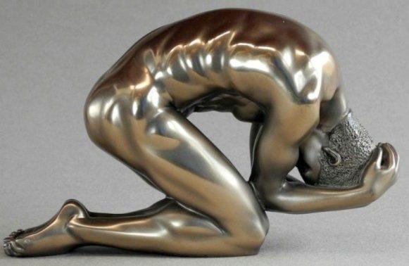 Photo of Nude Male Body Talk Bronze Figurine