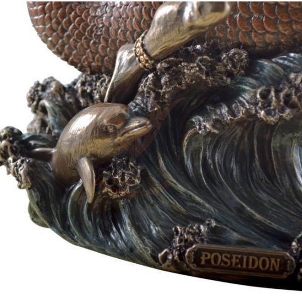 Photo of Poseidon God of the Sea Riding Sea Horse Bronze Figurine 27 cm