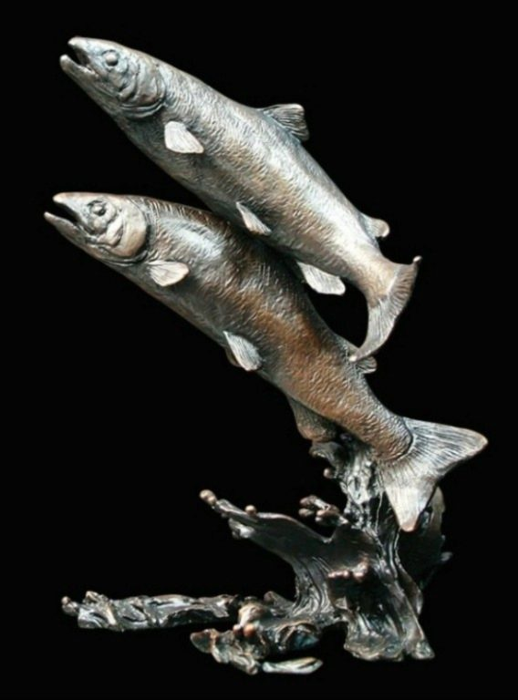 Photo of Salmon Pair Bronze Figurine (Limited Edition)