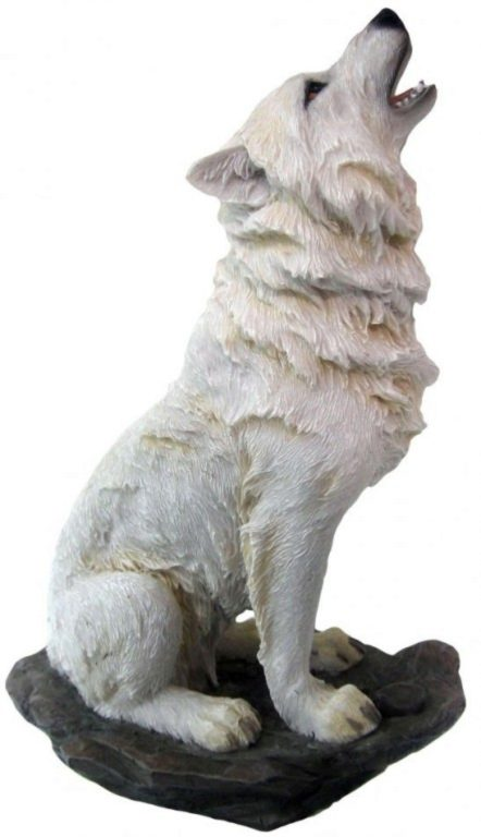 Photo of Storms Cry White Wolf Figurine 20cm