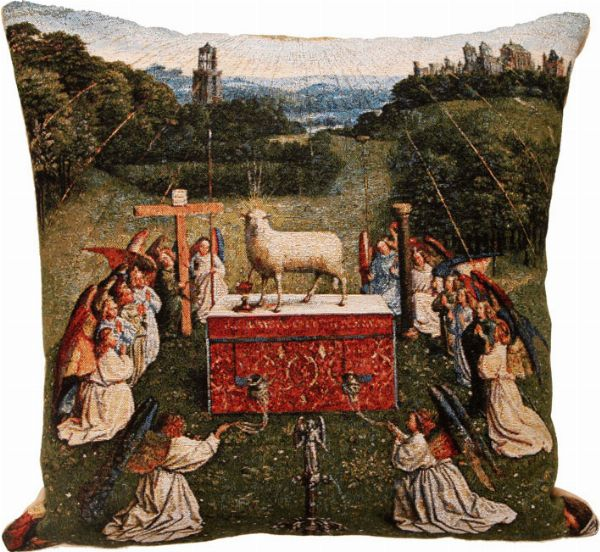 Phot of The Adoration Of The Mystic Lamb By Jan Van Eyck Tapestry Cushion